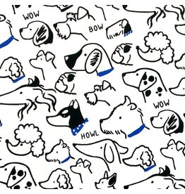 Japan Import Linen/Cotton Canvas, Cosmo Japan, Dogs Wearing Blue in White, Fabric Half-Yards AP-01712-2-C