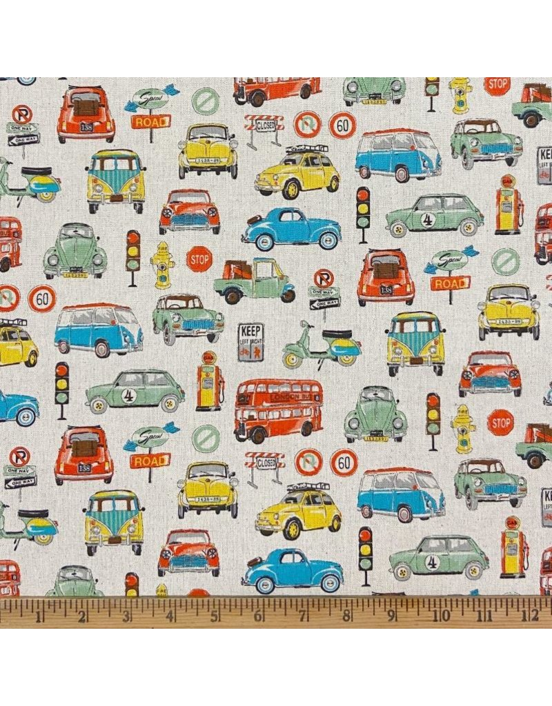 Japan Import Linen/Cotton Canvas, Cosmo Japan, Vans and Cars in Natural, Fabric Half-Yards AP-95902-2-A