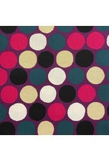 Japan Import Linen/Cotton Canvas, Cosmo Japan, Big Dot in Magenta with Gold Metallic, Fabric Half-Yards AP-92912-B