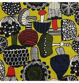 Japan Import Linen/Cotton Canvas, Cosmo Japan, Mushrooms in Citron, Fabric Half-Yards AP-95701-2-B