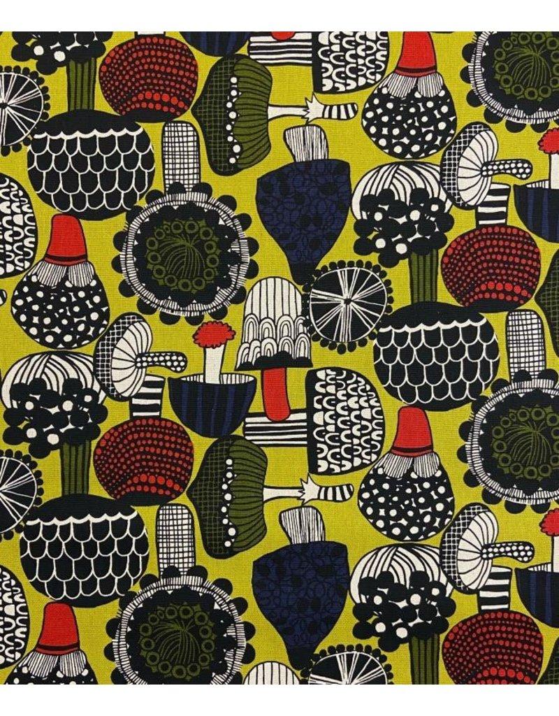 Japan Import Linen/Cotton Canvas, Cosmo Japan, Mushrooms in Citron, Fabric Half-Yards AP-95701-2-B