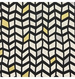 Japan Import Linen/Cotton Canvas, Suntone Japan, Wavy Grid in Black with Gold Metallic, Fabric Half-Yards ST-3721-1-D
