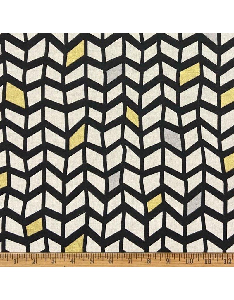 Japan Import Linen/Cotton Canvas, Suntone Japan, Wavy Grid in Black with Gold Metallic, Fabric Half-Yards ST-3721-1-D