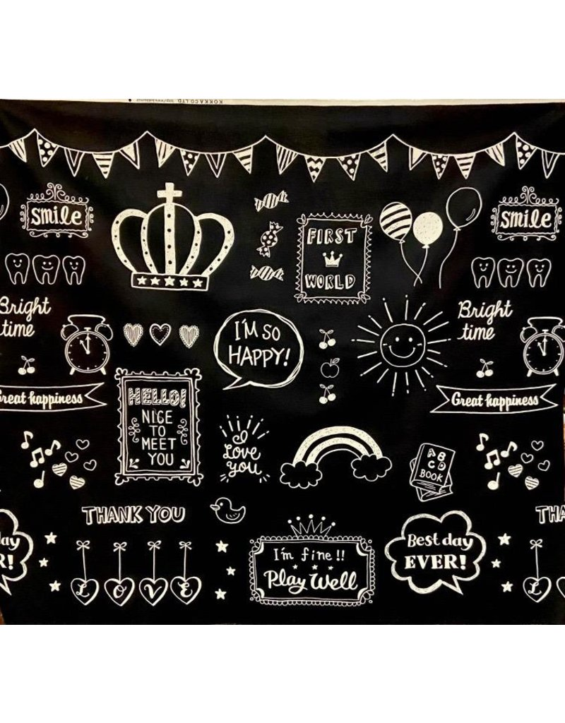 "Japan Import Canvas, Kokka Japan, Happy Time in Black, per 48"" Cut  YK-56090-1"
