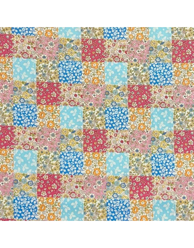 Japan Import Cosmo Japan, London Floral Patchwork in Multi, Fabric Half-Yards AP-4187-7-A