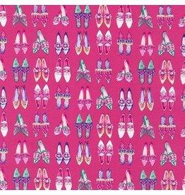 Robert Kaufman Ruru Marie, Shoes in Pink, Fabric Half-Yards QGRU-2380D14