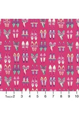 Robert Kaufman Ruru Marie, Shoes in Pink, Fabric Half-Yards QGRU-2380D14