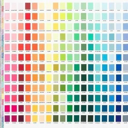 """Robert Kaufman Kona, Printed Color Chart, 24"""" Fabric Panel SRKD-19900-205"""