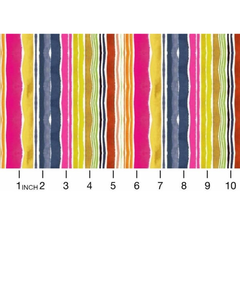 August Wren Viva Mexico!, Water Stripe in Multi, Fabric Half-Yards STELLA-DAW1505
