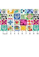 August Wren Viva Mexico!, Tiles in White, Fabric Half-Yards STELLA-DAW1502