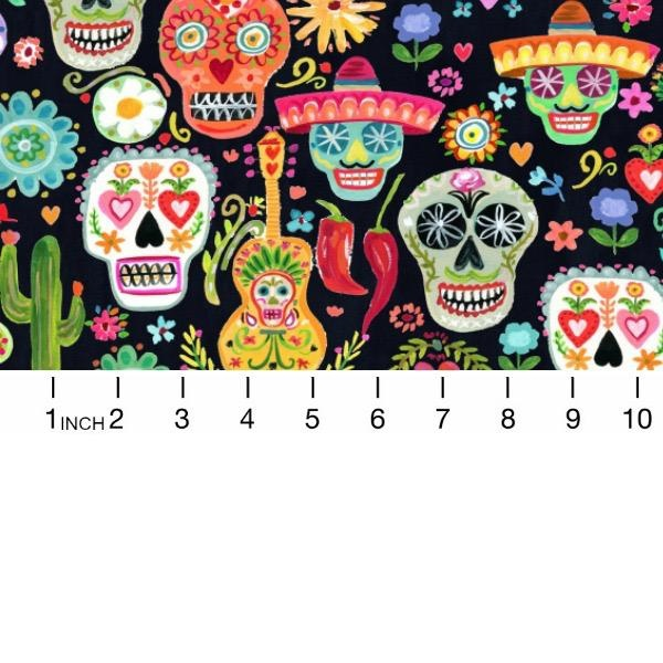 August Wren Viva Mexico!, Day of the Dead in Multi, Fabric Half-Yards STELLA-DAW1497