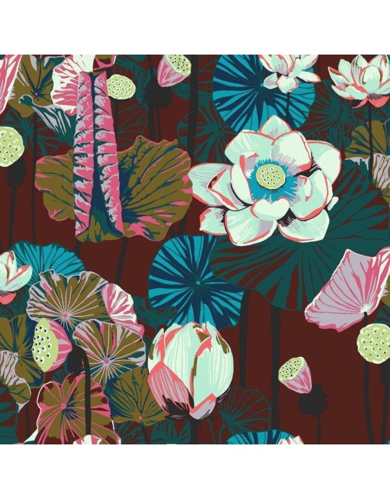 Anna Maria Horner One Mile Radiant, Lotus in Garnet, Fabric Half-Yards PWAM012