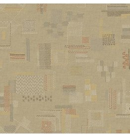 Marcus Fabrics Faded and Stitched, Stitched in Tan, Fabric Half-Yards 0765-0140