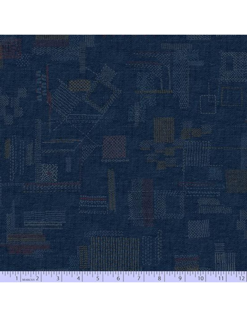 PD's Marcus Fabrics Collection Faded and Stitched, Stitched in Navy, Dinner Napkin