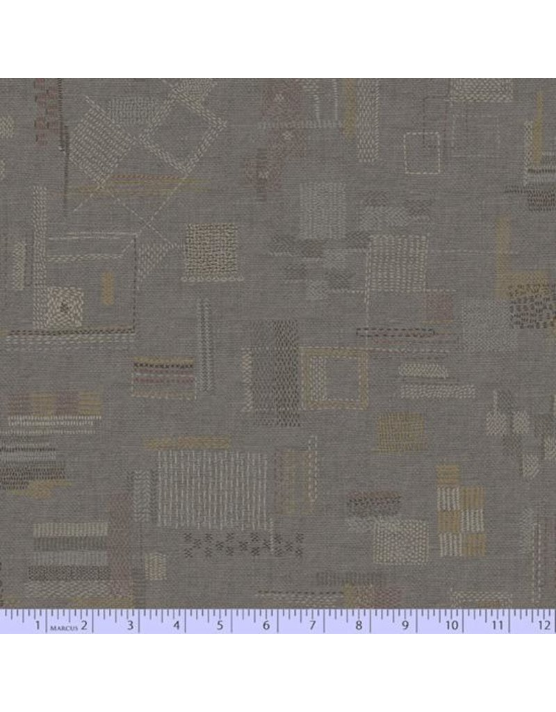 PD's Marcus Fabrics Collection Faded and Stitched, Stitched in Taupe, Dinner Napkin