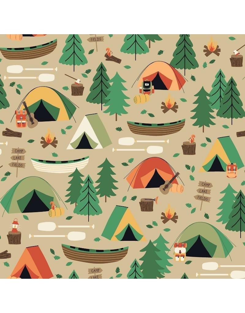 RJR Fabrics Camping Crew, Campground in Bark, Fabric Half-Yards RJ1600-BA3