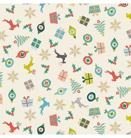 Andover Fabrics ON SALE-Merry, Scatter in Eggshell, Fabric Half-Yards TP-2113-1