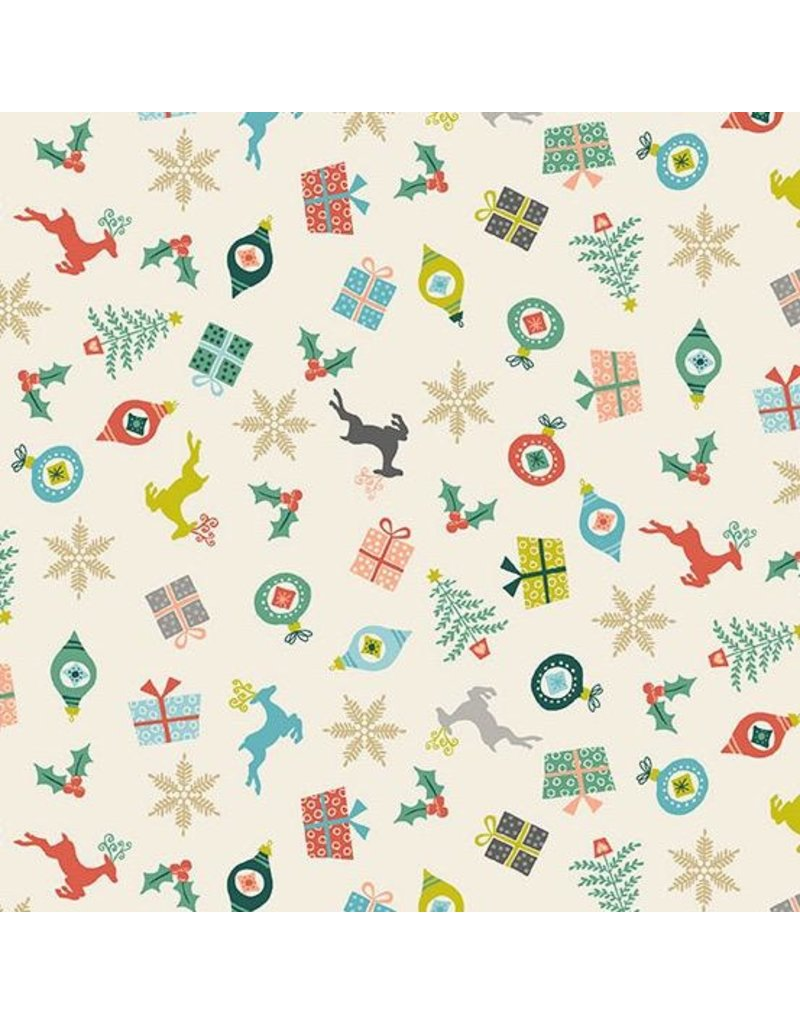 Andover Fabrics ON SALE-Merry, Scatter in Eggshell, Fabric full-Yards TP-2113-1