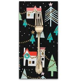 Christmas Collection ON SALE-Christmas Time, Neighborhood Noel in Black, Dinner Napkin