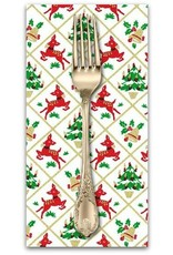 Christmas Collection ON SALE-Hello My Deer, Fawn Frolic in White, Dinner Napkin