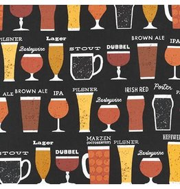 Robert Kaufman Cheers, Beers in Black, Fabric Half-Yards AOM-16463-2