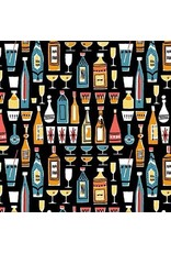 Michael Miller Kitschy Cocktails, Mother's Little Helper in Black, Fabric Half-Yards CX-8714