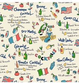 Michael Miller Kitschy Cocktails, Dry Martini in Cream, Fabric Half-Yards CX-8716