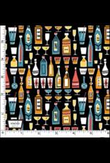 Kitschy Cocktails, Mother's Little Helper in Black, Set of 6 Cocktail Napkins
