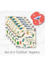 Kitschy Cocktails, Dry Martini in Cream, Set of 6 Cocktail Napkins