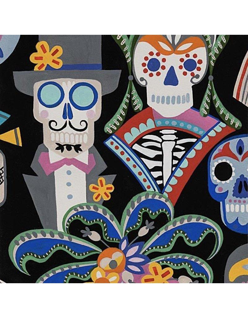 Alexander Henry Fabrics Folklorico, Carita Calaveras in Black, Fabric Half-Yards 8810CR