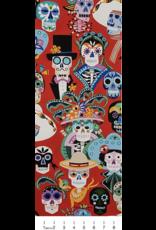 Alexander Henry Fabrics Folklorico, Carita Calaveras in Red, Fabric Half-Yards 8810AR