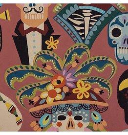 Alexander Henry Fabrics Folklorico, Carita Calaveras in Spice, Fabric Half-Yards 8810B