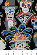 PD's Alexander Henry Collection Folklorico, Carita Calaveras in Black, Dinner Napkin
