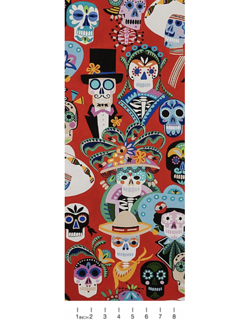 PD's Alexander Henry Collection Folklorico, Carita Calaveras in Red, Dinner Napkin