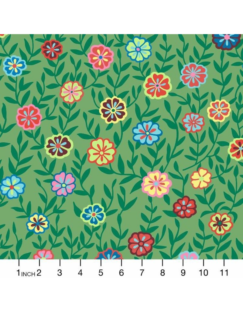 PD's Kaffe Fassett Collection Kaffe Collective 2020, Busy Lizzy in Green, Dinner Napkin