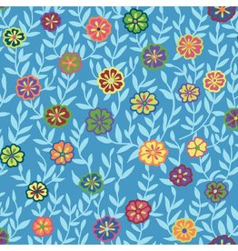 Kaffe Fassett Kaffe Collective 2020, Busy Lizzy in Blue, Fabric Half-Yards  PWGP175
