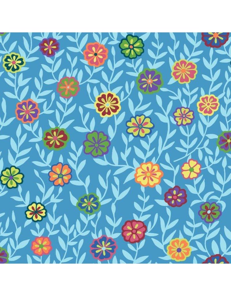 Kaffe Fassett Kaffe Collective 2020, Busy Lizzy in Blue, Fabric Half-Yards  PWGP175