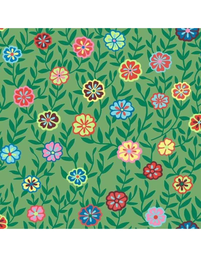 Kaffe Fassett Kaffe Collective 2020, Busy Lizzy in Green, Fabric Half-Yards  PWGP175