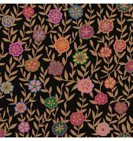 Kaffe Fassett Kaffe Collective 2020, Busy Lizzy in Black, Fabric Half-Yards  PWGP175