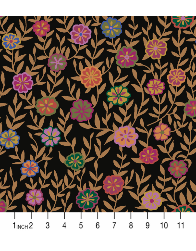 PD's Kaffe Fassett Collection Kaffe Collective 2020, Busy Lizzy in Black, Dinner Napkin