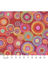 Kaffe Fassett Kaffe Collective 2020, Mosaic Circles in Red, Fabric Half-Yards  PWGP176