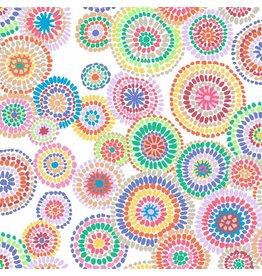 Kaffe Fassett Kaffe Collective 2020, Mosaic Circles in White, Fabric Half-Yards  PWGP176