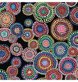 Kaffe Fassett Kaffe Collective 2020, Mosaic Circles in Black, Fabric Half-Yards  PWGP176