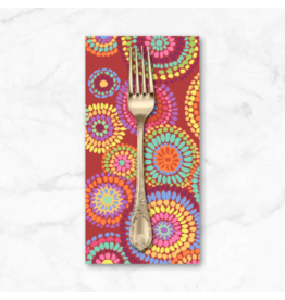 PD's Kaffe Fassett Collection Kaffe Collective 2020, Mosaic Circles in Red, Dinner Napkin