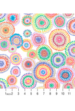 PD's Kaffe Fassett Collection Kaffe Collective 2020, Mosaic Circles in White, Dinner Napkin