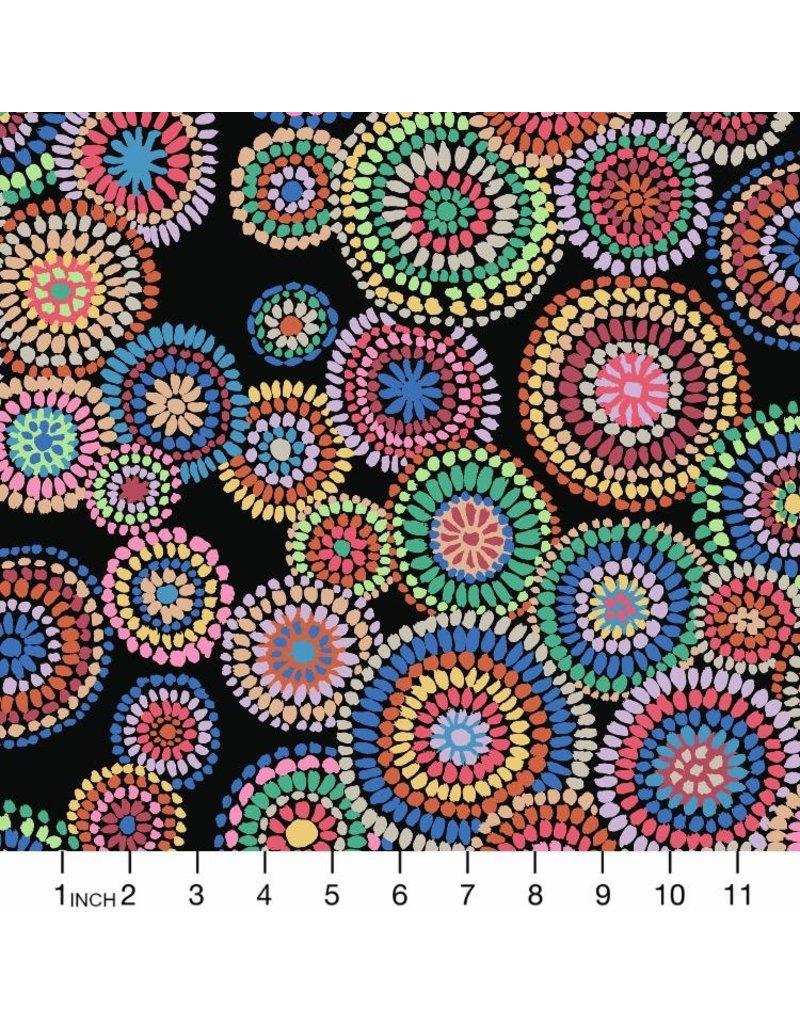 PD's Kaffe Fassett Collection Kaffe Collective 2020, Mosaic Circles in Black, Dinner Napkin