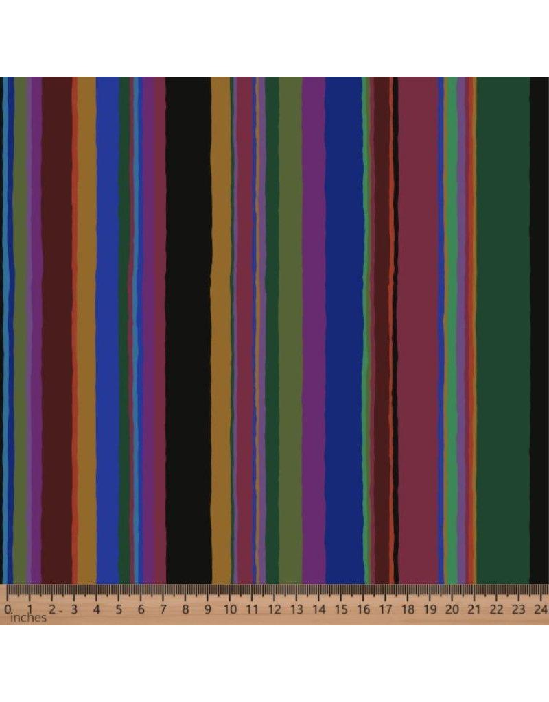 Kaffe Fassett Kaffe Collective 2020, Promenade Stripe in Dark, Fabric Half-Yards  PWGP178
