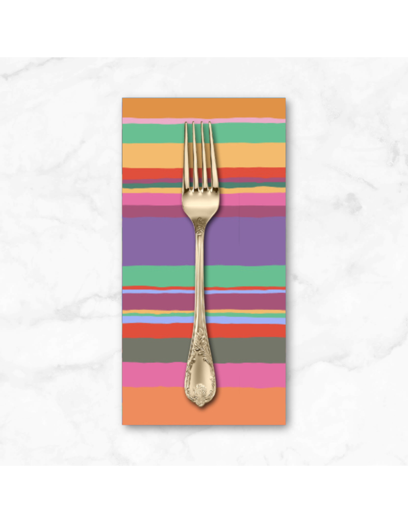 PD's Kaffe Fassett Collection Kaffe Collective 2020, Promenade Stripe in Hot, Dinner Napkin