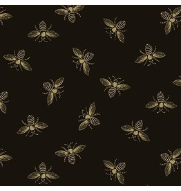 Andover Fabrics Beehive, Bees in Black, Fabric Half-Yards A-9084-K