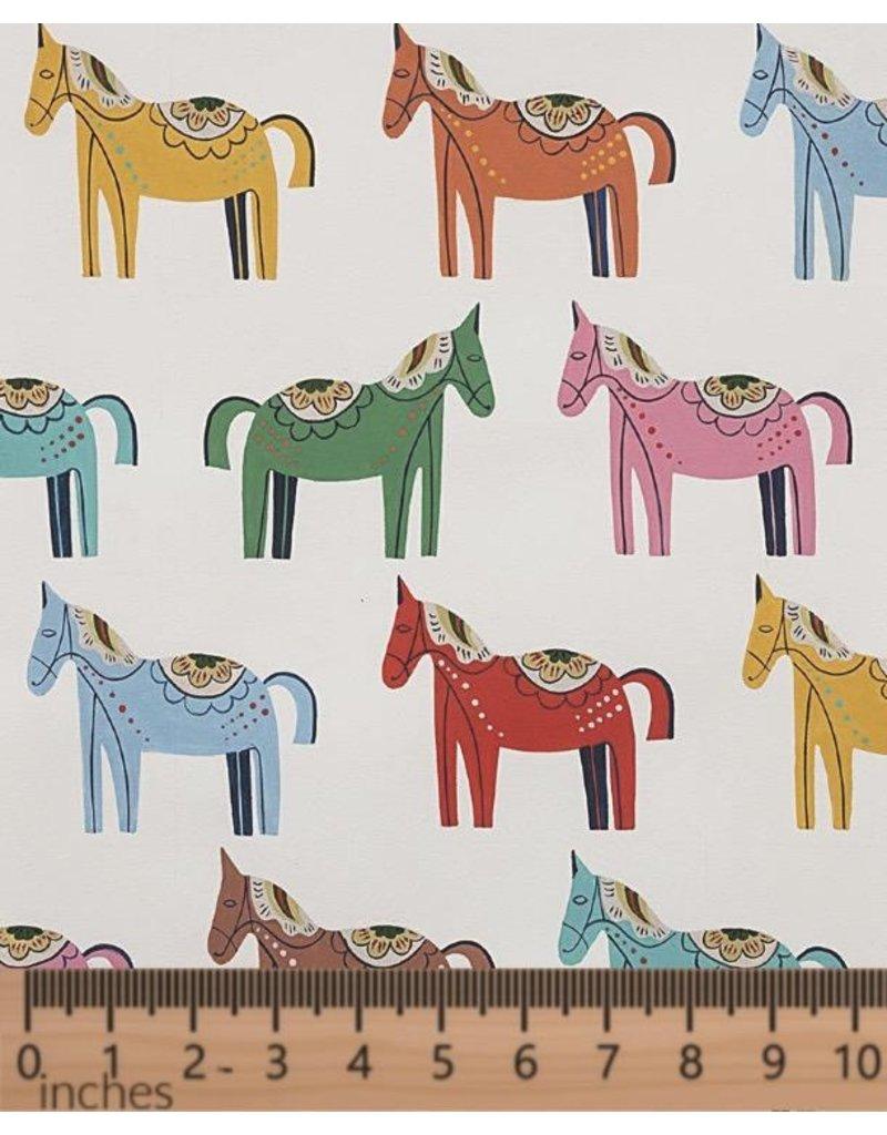 Alexander Henry Fabrics Folklorico, Carita Caballo in Natural White, Fabric Half-Yards 8809A